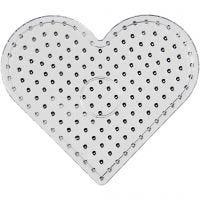 Pärlplattor, hjärta, JUMBO, transparent, 1 st.