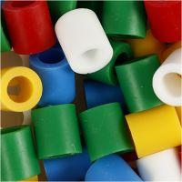 Rörpärlor, stl. 10x10 mm, Hålstl. 5,5 mm, JUMBO, standardfärger, 1000 mix./ 1 förp.