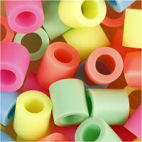Rörpärlor, stl. 10x10 mm, Hålstl. 5,5 mm, JUMBO, pastellfärger, 2450 mix./ 1 hink