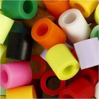 Rörpärlor, stl. 10x10 mm, Hålstl. 5,5 mm, JUMBO, kompletterande färger, 550 mix./ 1 förp.