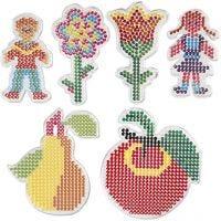 Stiftplattor, 2 blomma, flicka, pojke, äppla och päron, stl. 8,5x14-14x16 cm, 6 st./ 1 förp.