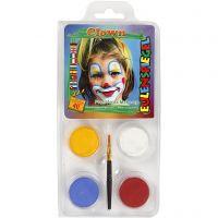 Eulenspiegel Ansiktsfärg - sminkset , Clown, mixade färger, 1 set