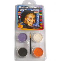 Eulenspiegel Ansiktsfärg - sminkset , Halloween/häxa, mixade färger, 1 set