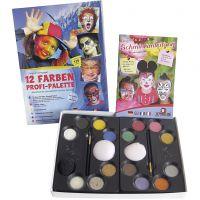 Eulenspiegel ansiktsfärg med steg-för-stegbeskrivning, mixade färger, 1 set