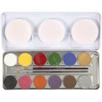 Eulenspiegel ansiktsfärg, mixade färger, 12 färg/ 1 set