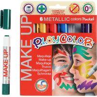 Playcolor Make up, metallic, mixade färger, 6x5 g/ 1 förp.