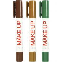 Playcolor Make up, ljusbrun, mörkbrun, grön, 3x5 g/ 1 förp.
