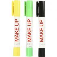 Playcolor Make up, svart, ljusgrön, gul, 3x5 g/ 1 förp.