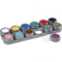 Grimas ansiktsfärg - sminkpalett, mixade färger, 12x2,5 ml/ 1 st.