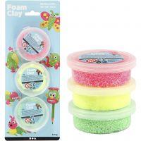 Foam Clay® , ljusgrön, neonrosa, neongul, 3x14 g/ 1 förp.