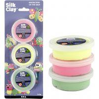 Silk Clay®, ljusgrön, neonrosa, neongul, 3x14 g/ 1 förp.