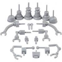 Robotdelar, stl. 0,5-6 cm, grå, 19 st./ 1 förp.