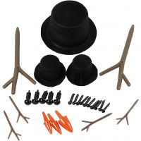 Tillbehör till snögubbe, stl. 2,3-7 cm, 3 set/ 1 förp.