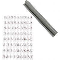 Stämpelset, bokstäver, siffror, H: 6 mm, vit, 1 set
