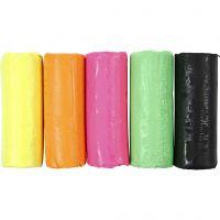 Soft Clay modellera, H: 9,5 cm, neonfärger, 400 g/ 1 hink