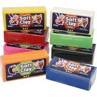 Soft Clay modellera, stl. 13x6x4 cm, mixade färger, 8x500 g/ 1 förp.