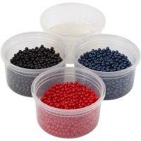 Pearl Clay® , svart, blå, röd, 1 set, 3x25+38 g