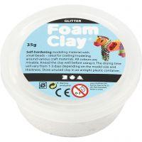 Foam Clay® , glitter, vit, 35 g/ 1 burk