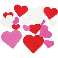 Dekorgummihjärtan, stl. 20-50 mm, tjocklek 2 mm, mixade färger, 200 mix./ 1 förp.