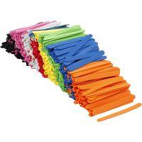 'Glasspinnar' av dekorgummi, L: 11,5 cm, B: 1 cm, tjocklek 2 mm, mixade färger, 1000 st./ 1 förp.