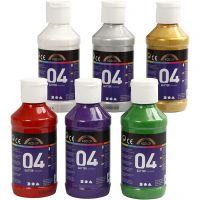 Skolfärg akryl, glitter, glitter, mixade färger, 6x120 ml/ 1 förp.