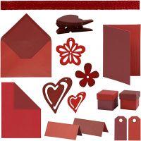 Happy Moments - Korttillverkning, röd, vinröd, röd/vinröd, vinröd/röd, 160 enhet/ 1 förp.