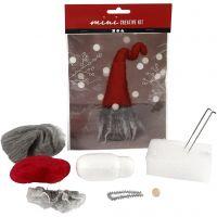 Kreativt minikit, tomtenisse m/grått skägg, H: 13 cm, 1 set