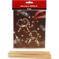 Kreativt minikit, julbock i halm, H: 7 cm, 1 set