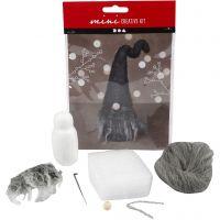 Kreativt minikit, Jultomte, H: 13 cm, gråmelerad, 1 set