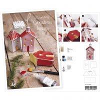 Postkort, hus med glitter, A5, 14,8x21 cm, 1 st.