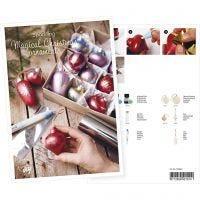 Postkort, julkulor med metallfärg och deco folie, A5, 14,8x21 cm, 1 st.