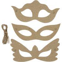 Masker av papp, H: 5+8 cm, B: 18 cm, 3x10 st./ 1 förp.