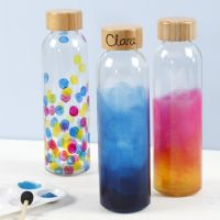 Vattenflaska dekorerad med glasfärg