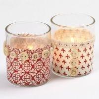 Ljusglas med textil och knappar