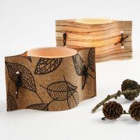 Ljusglas med naturmaterial