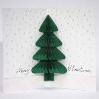 Julkort med gran i harmonikapapper