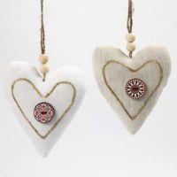 Textilhjärtan med knapp och 3D Liner i guld