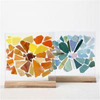 Glasmosaik på glasplattor