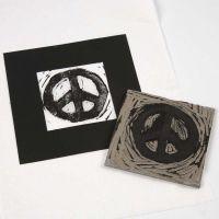 Linoleumstryck av peace-tecken