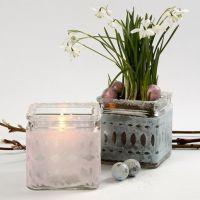 Ljusglas med bälte av pastellfärgat och klippt silkespapper