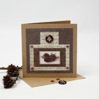 Julkort med glitterfolie, designpapper och cabochon