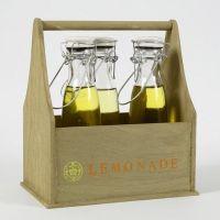 Målad flaskhållare med stämplad text