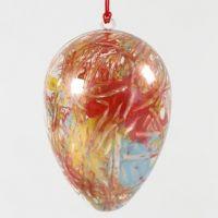 Tvådelade ägg av klar akryl med abstrakt konst