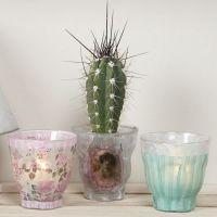 Ljusglas, dekorerade med decoupagepapper från Vivi Gade Design