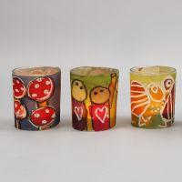 Ljusglas med bälte av dekorerat akvarellpapper