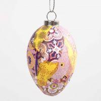 Ägg med mönstrat decoupagepapper i rosa harmoni