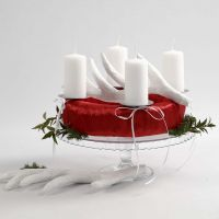 Adventskrans i rött och vitt