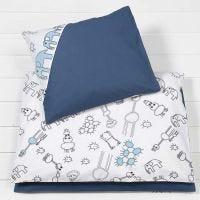 Sängkläder till baby av tyg med färglagda motiv