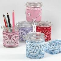 Ljusglas med decoupage av bandana/snusnäsduk