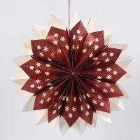 Stjärna av glittriga papperspåsar med dold LED-ljusslinga